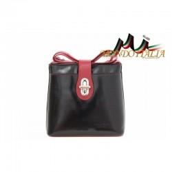 Talianska kožená kabelka na rameno 118 čierna+červená MADE IN ITALY 118