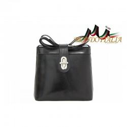 Talianska kožená kabelka na rameno 118 čierna MADE IN ITALY 118