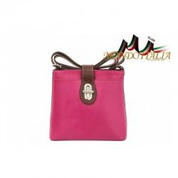 Talianska kožená kabelka na rameno 118 fuxia+hnedá MADE IN ITALY 118