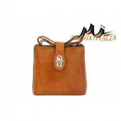 Talianska kožená kabelka na rameno 118 koňak MADE IN ITALY 118