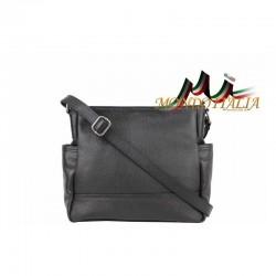 Talianska kožená kabelka na rameno 1214 čierna MADE IN ITALY 1214