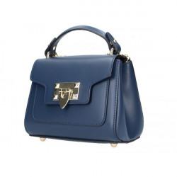 Talianska kožená kabelka na rameno 186 tmavomodrá, Modrá