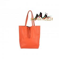 Talianska kožená kabelka na rameno 396 oranžová MADE IN ITALY