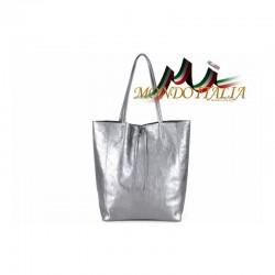 Talianska kožená kabelka na rameno 396 strieborná MADE IN ITALY 396