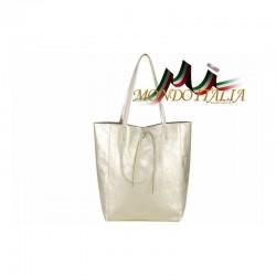 Talianska kožená kabelka na rameno 396 zlatá MADE IN