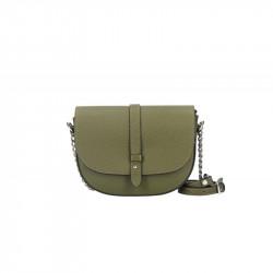 Talianska kožená kabelka na rameno 5064 vojenska zelená,