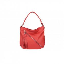 Talianska kožená kabelka na rameno 5100 červená MADE IN ITALY, červená