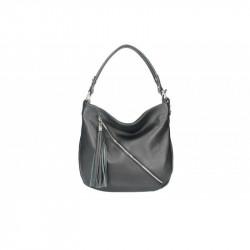 Talianska kožená kabelka na rameno 5100 čierna MADE IN ITALY, čierna
