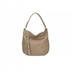 Talianska kožená kabelka na rameno 5100 tmavá šedohnedá MADE IN ITALY, šedohnedá