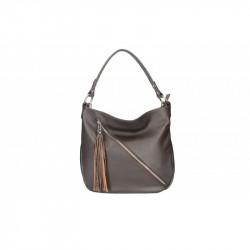 Talianska kožená kabelka na rameno 5100 tmavohnedá MADE IN ITALY, hnedá