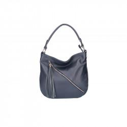 Talianska kožená kabelka na rameno 5100 tmavomodrá MADE IN ITALY, modrá