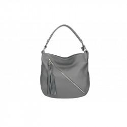 Talianska kožená kabelka na rameno 5100 tmavošedá MADE IN ITALY, šedá