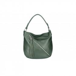 Talianska kožená kabelka na rameno 5100 tmavozelená MADE