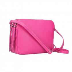 Talianska kožená kabelka na rameno 5313 fuxia, fuxia