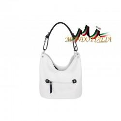 Talianska kožená kabelka na rameno 631 biela MADE IN ITALY