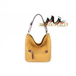 Talianska kožená kabelka na rameno 631 okrová MADE IN