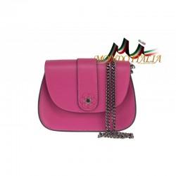 Talianska kožená kabelka na rameno 661 fuxia MADE IN ITALY