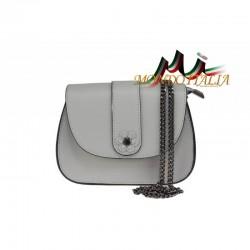 Talianska kožená kabelka na rameno 661 šedá MADE IN