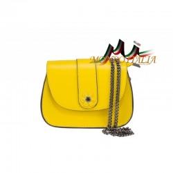 Talianska kožená kabelka na rameno 661 žltá MADE IN ITALY