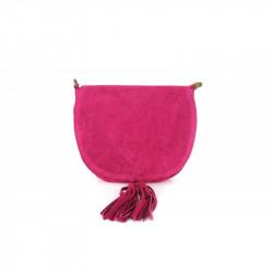 Talianska kožená kabelka na rameno 703 fuxia MADE IN ITALY, fuxia