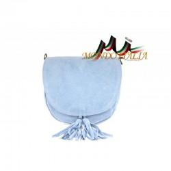 Talianska kožená kabelka na rameno 703 nebesky modrá MADE IN ITALY