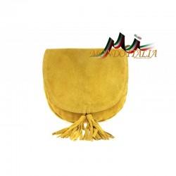 Talianska kožená kabelka na rameno 703 okrová MADE IN