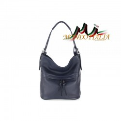 Talianska kožená kabelka na rameno 715 modrá MADE IN ITALY