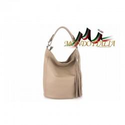 Talianska kožená kabelka na rameno 7999 šedohnedá MADE IN ITALY 7999