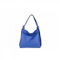 Talianska kožená kabelka na rameno 9010 azurovo modrá MADE IN ITALY, azurovo modrá