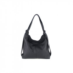 Talianska kožená kabelka na rameno 9010 čierna MADE IN ITALY, čierna