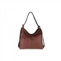 Talianska kožená kabelka na rameno 9010 hnedá MADE IN