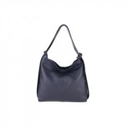 Talianska kožená kabelka na rameno 9010 tmavomodrá MADE IN ITALY, modrá
