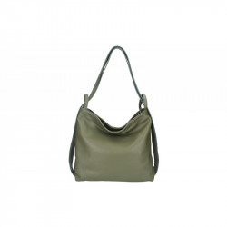 Talianska kožená kabelka na rameno 9010 vojenská zelená