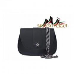 Talianska kožená kabelka na rameno 9665 čierna MADE IN ITALY 9665