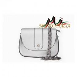 Talianska kožená kabelka na rameno 9665 strieborná MADE IN ITALY 9665
