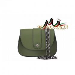 Talianska kožená kabelka na rameno 9665 tmavozelená MADE IN ITALY 9665