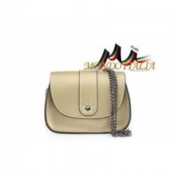 Talianska kožená kabelka na rameno 9665 zlatá MADE IN