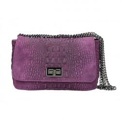 Talianska kožená kabelka potlač krokodíl 439 fialová Fialová