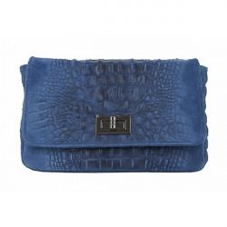 Talianska kožená kabelka potlač krokodýl 439 jeans, Modrá
