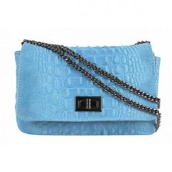 Talianska kožená kabelka potlač krokodýl 439 nebesky modrá, Nebesky modrá