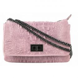 Talianska kožená kabelka potlač krokodýl 439 ružová, Ružová