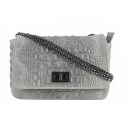 Talianska kožená kabelka potlač krokodýl 439 šedá, Šedá