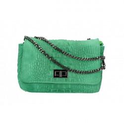 Talianska kožená kabelka potlač krokodýl 439 zelená Zelená