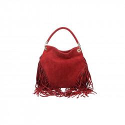 Talianska kožená kabelka v úprave semiš 5080 červená