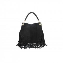 Talianska kožená kabelka v úprave semiš 5080 čierna