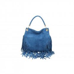 Talianska kožená kabelka v úprave semiš 5080 jeans MADE