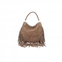 Talianska kožená kabelka v úprave semiš 5080 tmavá
