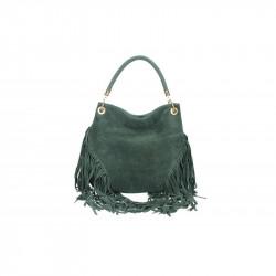 Talianska kožená kabelka v úprave semiš 5080 vojenská
