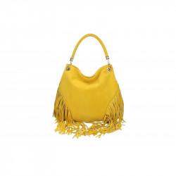Talianska kožená kabelka v úprave semiš 5080 žltá