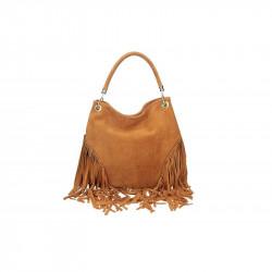 Talianska kožená kabelka v úprave semiš koňak 5080
